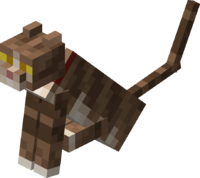 Sitting Tamed Tabby Cat with Red Collar.png