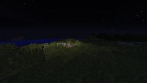 夜の溶岩湖