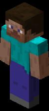 """ゲーム内に登場するデフォルトのプレイヤースキン、""""Steve""""。"""