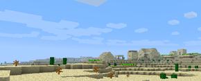 Изображена пустыня с деревней NPC из песчаника на фоне.