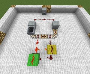 Redstone manual - rail T flip-flop.png