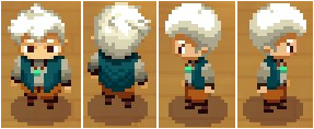 A picture of the player character, Will. This shows his in-game sprite facing all 4 cardinal directions.