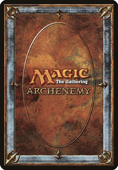 """A scan of the back of a scheme card. Similar to a traditional card back, with ornate stonework around the edges and the words """"Magic: The Gathering Archenemy"""" in the center."""
