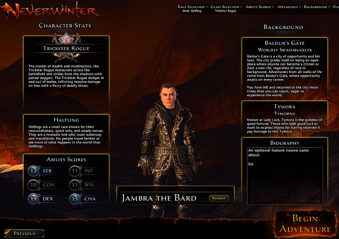 The Character Overview screen