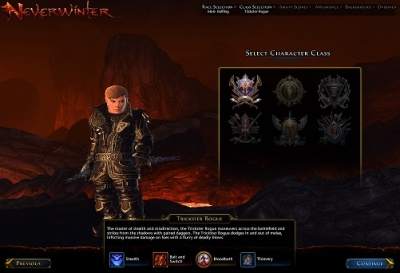 The Class Selection screen