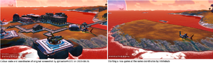 Comparison of two screenshots taken at the same URI coordinates. Note colour codes and Glyphs.