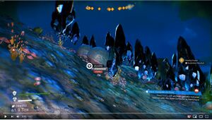 A rare cluster of 25 floating crystals in No Man's Sky