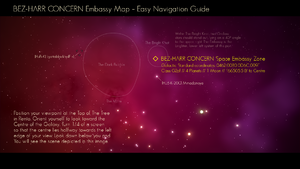 Visual wayfinding guide to locating the BEZ-HARR CONCERN Space Embassy Zone