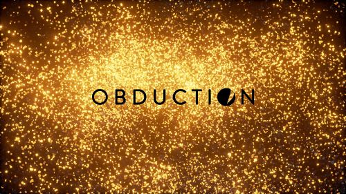 The Obduction logo overlayed on the golden lights.
