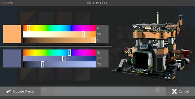 Das Farbbearbeitungsmenü, hier mit der Standardfarbe aller Gebäude und Fahrzeuge