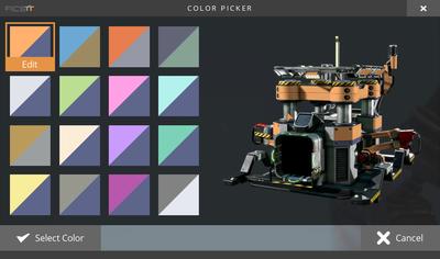 Das Farbwahlmenü mit den Standardfarben