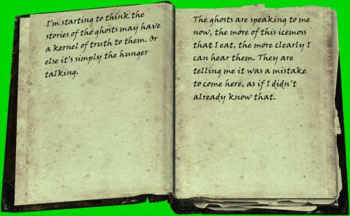 Allmählich glaube ich, dass an den Geistergeschichten etwas Wahres dran ist. Vielleicht ist es auch nur der Hunger, der aus mir spricht. / Die Geister sprechen jetzt zu mir. Je mehr ich von diesem Eismoos esse, desto deutlicher kann ich sie hören. Sie sagen mir, es sei ein Fehler gewesen herzukommen, als ob ich das nicht bereits wüsste.