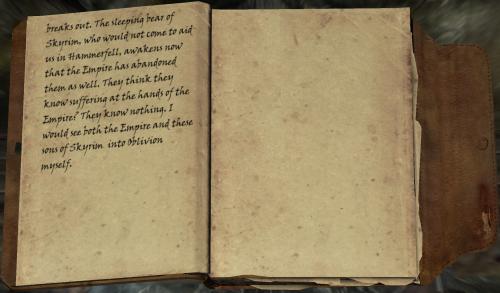 Und gerade jetzt, wo ich so kurz vor dem Ziel stehe, bricht ein Krieg aus. Der schlafende Bär von Himmelsrand, der uns in Hammerfell nicht zu Hilfe eilen wollte, wacht ausgerechnet jetzt auf, wo das Kaiserreich sie auch im Stich gelassen hat. Sie glauben wohl, sie wüssten, was es heißt, durch das Kaiserreich Qualen zu erleiden? Sie wissen gar nichts. Ich würde sowohl das Kaiserreich als auch diese Söhne von Himmelsrand ins Reich des Vergessens schicken.