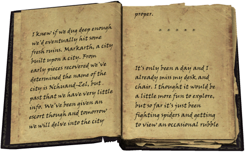 I knew if we dug deep enough we'd eventually hit some fresh ruins. Markarth, a city built upon a city. From early pieces recovered we've determined the name of the city is Nchuand-Zel, but past that we have very little info. We've been given an escort though and tomorrow we will delve into the city proper. * * * * * It's only been a day and I already miss my desk and chair. I thought it would be a little more fun to explore, but so far it's just been fighting spiders and getting to view an occasional rubble