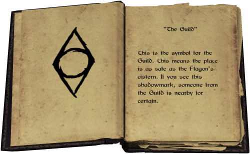 """The Guild"" - This is the symbol for the Guild. This means the place is as safe as the Flagon's cistern. If you see this shadowmark, someone from the Guild is nearby for certain."