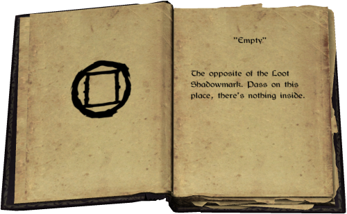 """Empty"" - The opposite of the Loot Shadowmark. Pass on this place, there's nothing inside."