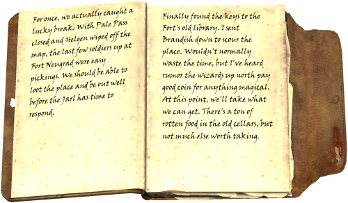 For once, we actually caught a lucky break. With Pale Pass closed and Helgen wiped off the map, the last few soldiers up at Fort Neugrad were easy pickings. We should be able to loot the place and be out well before the Jarl has time to respond. Finally found the keys to the Fort's old library. I sent Brandish down to scour the place. Wouldn't normally waste the time, but I've heard rumor the wizards up north pay good coin for anything magical. At this point, we'll take what we can get. There's a ton of rotten food in the old cellars, but not much else worth taking.