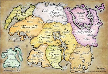 picture relating to Printable Skyrim Map titled Tamriel - Skyrim Wiki