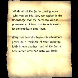 Letter of Inheritance   Skyrim Wiki