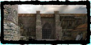 Porte du cimetière, vue du Quartier du Temple