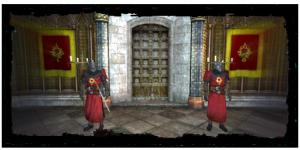 les gardes à l'intérieur du cloître