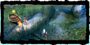 Geralt et Jaskier avec le bâteau du Roi pêcheur