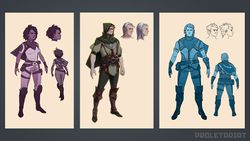 Concept art of various characters