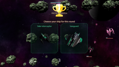 Deathmatch starting screen: Choose your ship for this round. Deathmatch starting screen: Choose your ship for this round.
