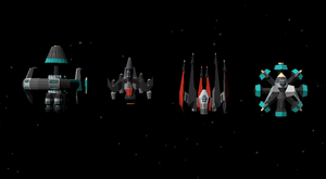 Size comparison of 4 ships in Tier 7: Odyssey, Shadow X-3, Aries and The Bastion