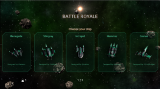 The Battle Royale ship selection screen