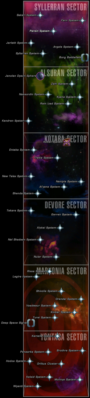 Map of the sectors of the Delta Quadrant accessible in STO