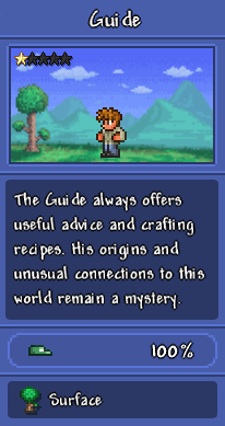"""A screenshot of the Guide as depicted in the Bestiary, showing him with a background of the surface, with the description, """"The Guide always offers useful advice and crafting recipes. His origins and unusual connections to this world remain a mystery."""""""