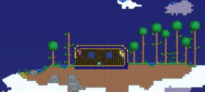 thumbUma ilha voadora tipica.Torchas foram colocadas pelo jogador para revelar o lado de dentro. Ilhas voadores não tem nenhuma fonte de luz naturalmente.