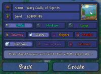 The world creation screen on the Desktop version