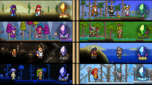 Dye Trader and Painter in the desert. Shopkeeper, Golfer, and Nurse in the Forest. Wizard and Party Girl in the Hallow. Witch Doctor and Dryad in the jungle. Demolitionist and Tavern Keeper in the cavern. Angler and Pirate at the beach. Dryad and Truffle in the underground mushroom biome. Engineer and Tinkerer in the ice biome.