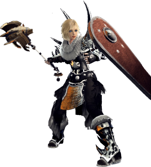 Fiona with a large shield equipped