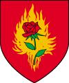 herb Zakonu Płonącej Róży przed śmiercią Jakuba de Aldersberga