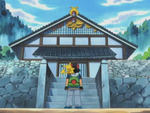 Ash and Pikachu at the Petalburg Gym.