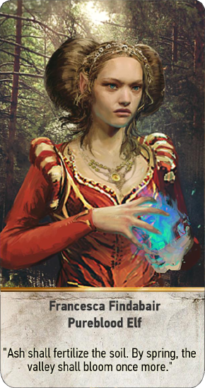 Tw3 gwent card face Francesca Findabair Pureblood Elf.png