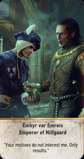 Tw3 gwent card face Emhyr var Emreis Emperor of Nilfgaard.png