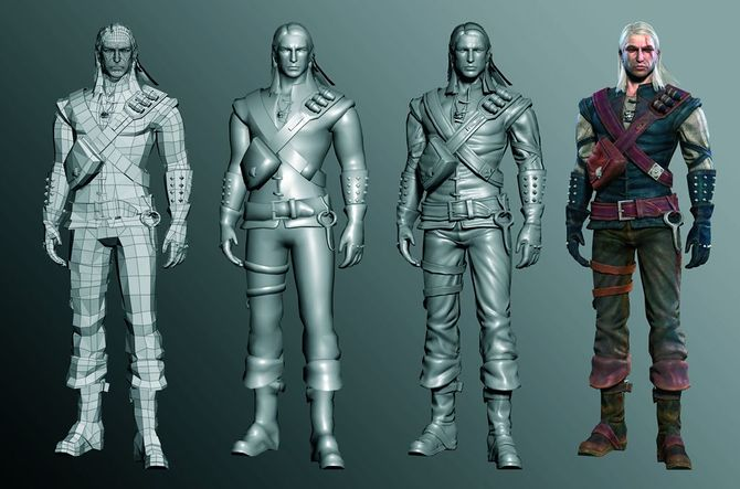 Formation phases of the Geralt model for the computer game