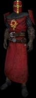 Cavaliere dell'ordine, con uniforme, elmo rosso e dettagli gialli