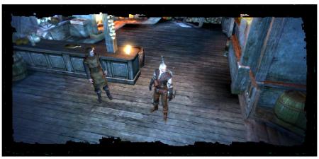 Geralt con il messaggero all'Orso Peloso