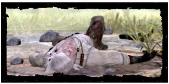 Geralt, incosciente all'inizio del gioco