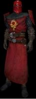 Cavaliere dell'Ordine, in uniforme, elmo rosso e dettagli rossi