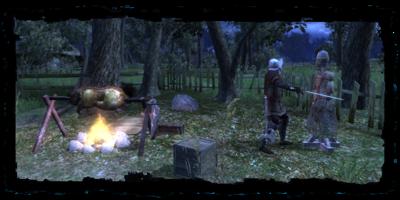 Accampamento del cacciatore reale nelle campagne