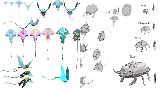Early concept art for different creatures.
