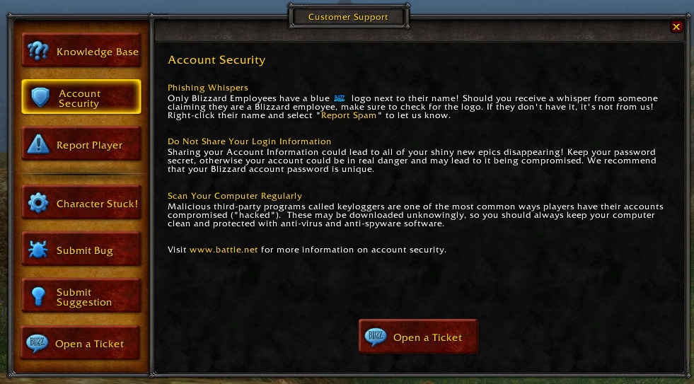 Customer Support - Wowpedia - Your wiki guide to the World