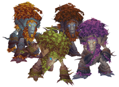 The Troll, Tauren, Worgen, and Night Elf tree forms