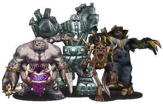 Gólems (de izquierda a derecha): Abominación, gólem de piedra, gólem de huesos y gólem de la cosecha.